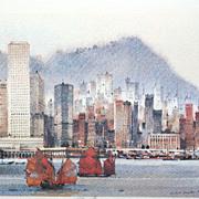 Law Wai Hin (1939-) Limited Edition Signed Hong Kong Cityscape Print Art