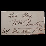 "1894 William Pruette ""Rob Roy"" Actor Cut Signature Autograph Card"