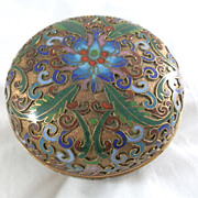 Vintage Cloisonne Chinese Enamel Gilded Red Border Trinket Box Lotus Motif 3""