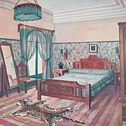 1925 Art Deco Litho Portfolio Plate By Goyeneche, Libis Teal Summer Bedroom
