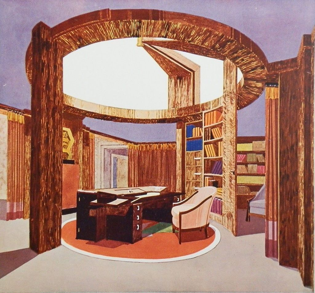 1925 art deco litho portfolio plate pierre chareau bureau biblioth que from rubylane sold on. Black Bedroom Furniture Sets. Home Design Ideas
