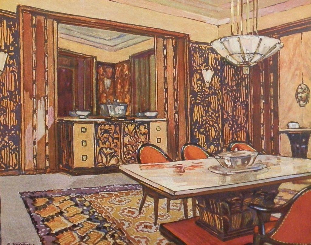 #9C402F 1925 Art Deco Litho Portfolio Plate Andre Frechet Salle A  5007 salle à manger art déco 1024x805 px @ aertt.com