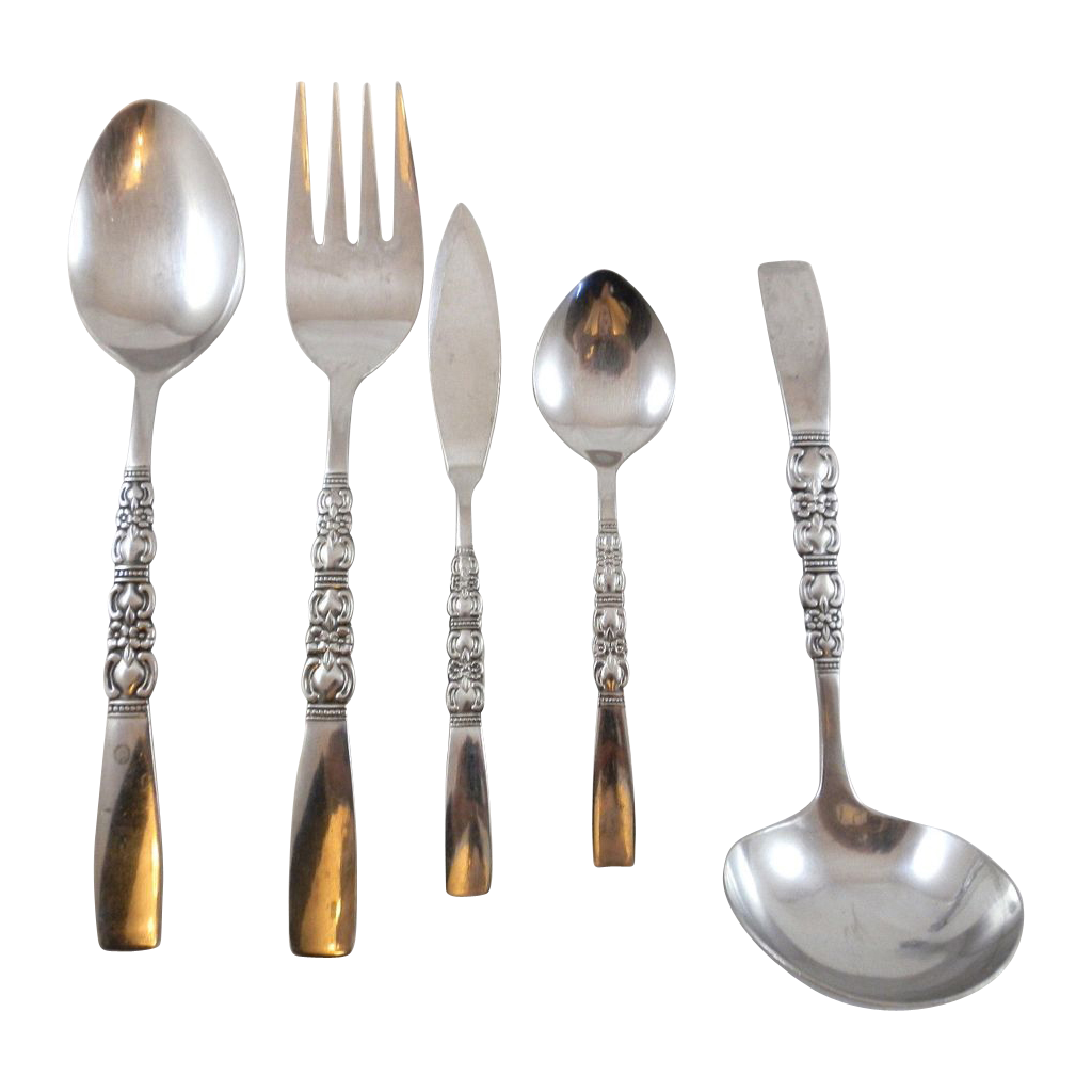 5 pc rebecca northland oneida stainless flatware serving for Oneida flatware
