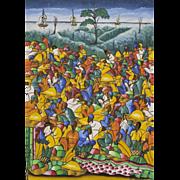 Original Haitian Folk Art Painting Festive Market Place Signed