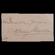 Historical Cut Signature Autograph Actor Henry Miller (1859-1926)