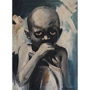 Original Haitian African Oil Painting Art Child Signed Soule