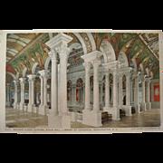 1915-1930's Central Stair Hall Library of Congress Washington DC NOS Postcard