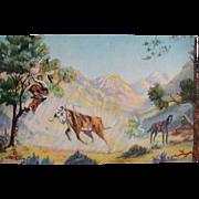 "1939 Cowboy Art L.H. ""Dude"" Larsen Cowboy Artist Poet Postcard Rough Riders"