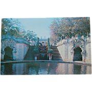 Vizcaya Dade County Art Museum Water Stairway Formal Gardens NOS Postcard New Old Stock