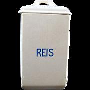 Antique 1874-1909 Villeroy & Boch Mettlach German Ceramic Canister Reis Rice