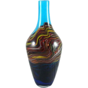 Vintage Mid Century Murano Blue And Multi Color Swirl Art Glass Vase 15 1/8""
