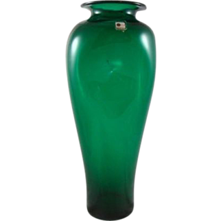 Vintage Blenko Emerald Ivy Green Pinched Art Glass Handmade Vase 15 1/4""