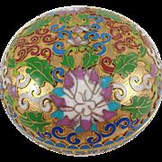 "Vintage Cloisonne Chinese Enamel Gold Gilt Trinket Box Lotus Motif 3.5"""