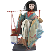 Vintage Japanese Japan Traditional Ningyo Doll Woman Hand Painted w/ Buckets