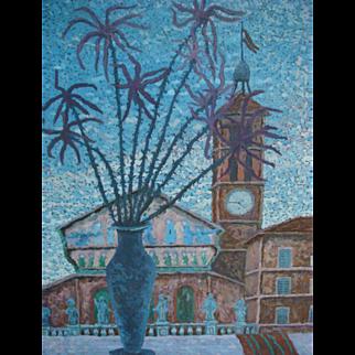 Marcello Giambi Bonacci (1910-) Surrealist Cityscape Church Italy Rome Trastevere