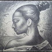 Osvaldo Barra Original Signed Etching 'Rostro Femenino' 1960 Portrait of a Beautiful Woman