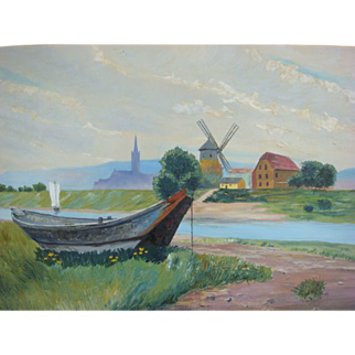 M.M. Lauer Vintage 1930s Austrian Landscape Oil Painting Windmill Boat Countryside