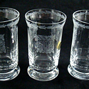 Vintage German 3 Art Nouveau Style Kaspar Bleikristall Hand Blown Etched Lead Crystal Glasses