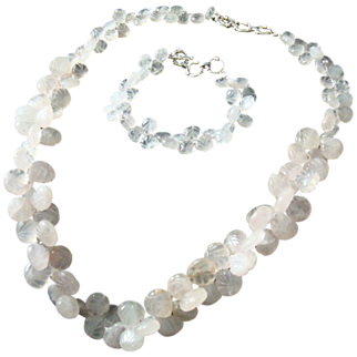 Vintage Asian Carved Jade Jadeite Sterling Silver Necklace And Bracelet Set