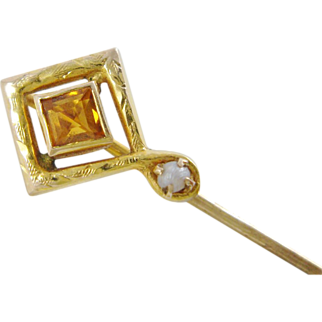 Art Deco Pearl And Citrine 14K Gold Stick Pin With C.P.G.