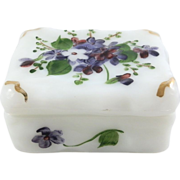 Phoenix or Consolidated Milk Glass Violet Pansy Dresser Trinket Box