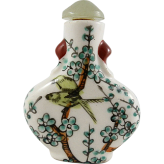 Bird Theme Chinese Hand Painted Faceted Jade Top Porcelain Snuff Bottle