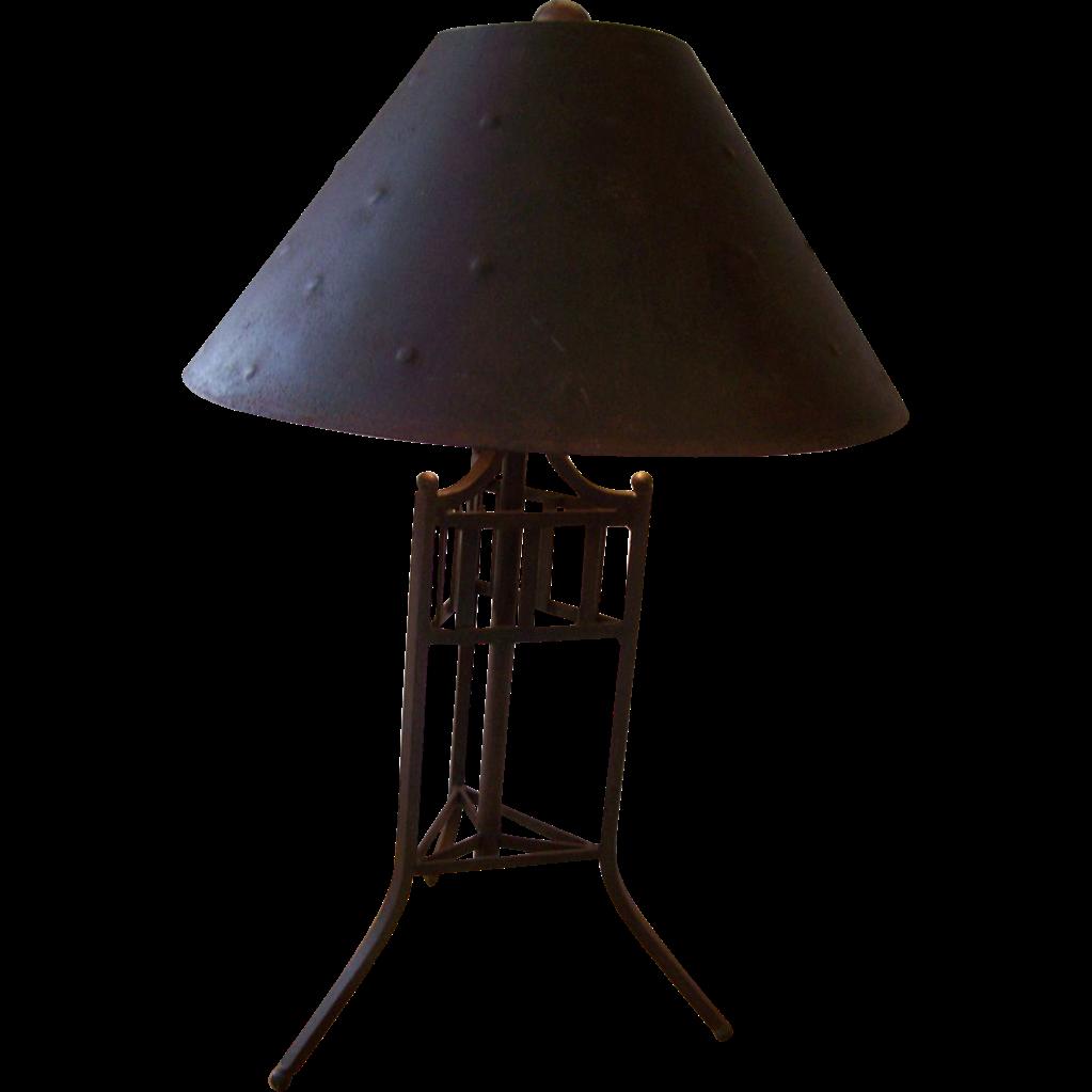 industrial metal lamp sold on ruby lane