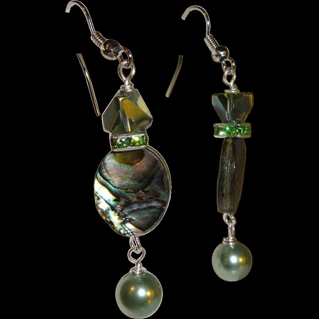 Artisan Earrings : Artisan chevron glass peridot abalone and pearl earrings