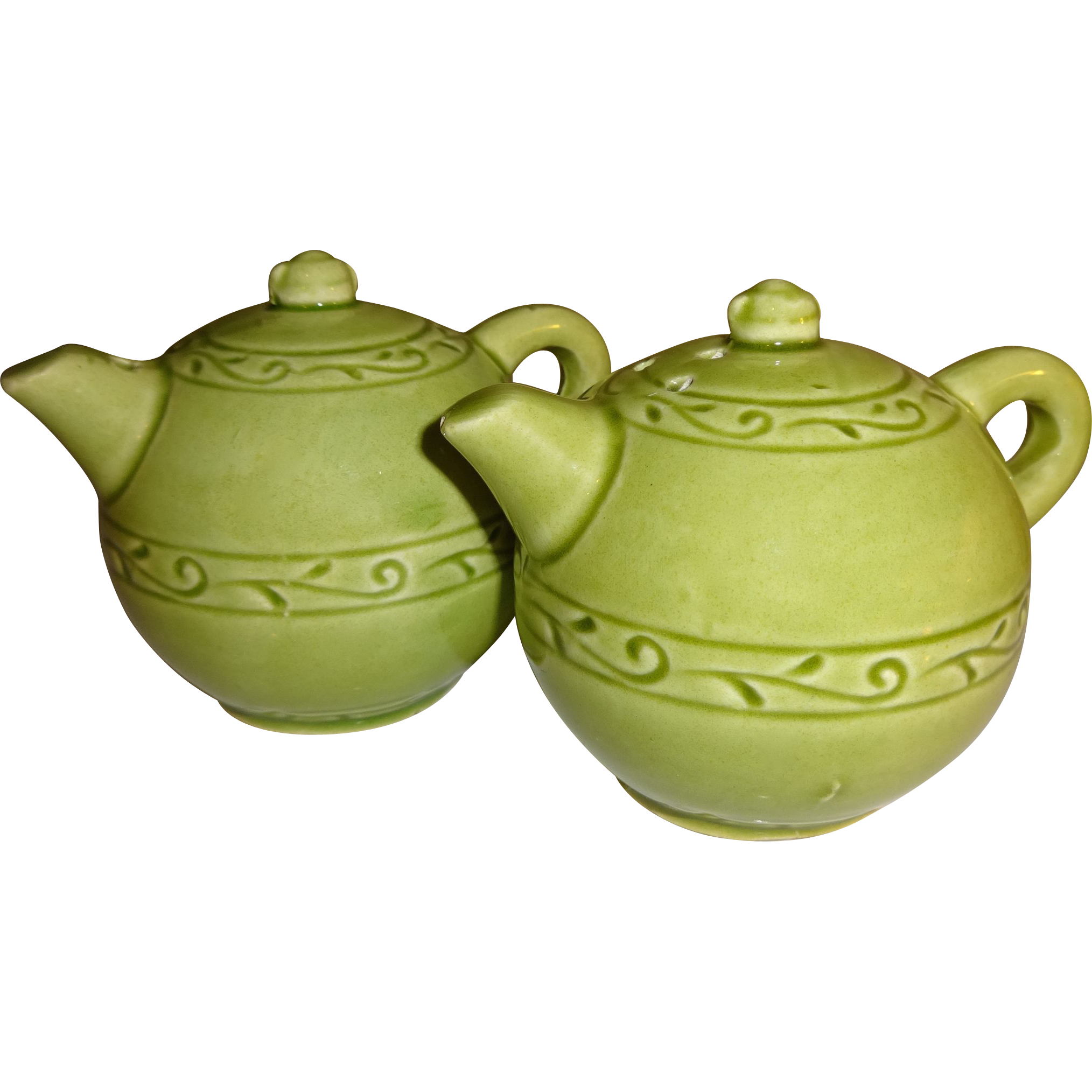 Green Ceramic Tea Pots Salt And Pepper Shakers From