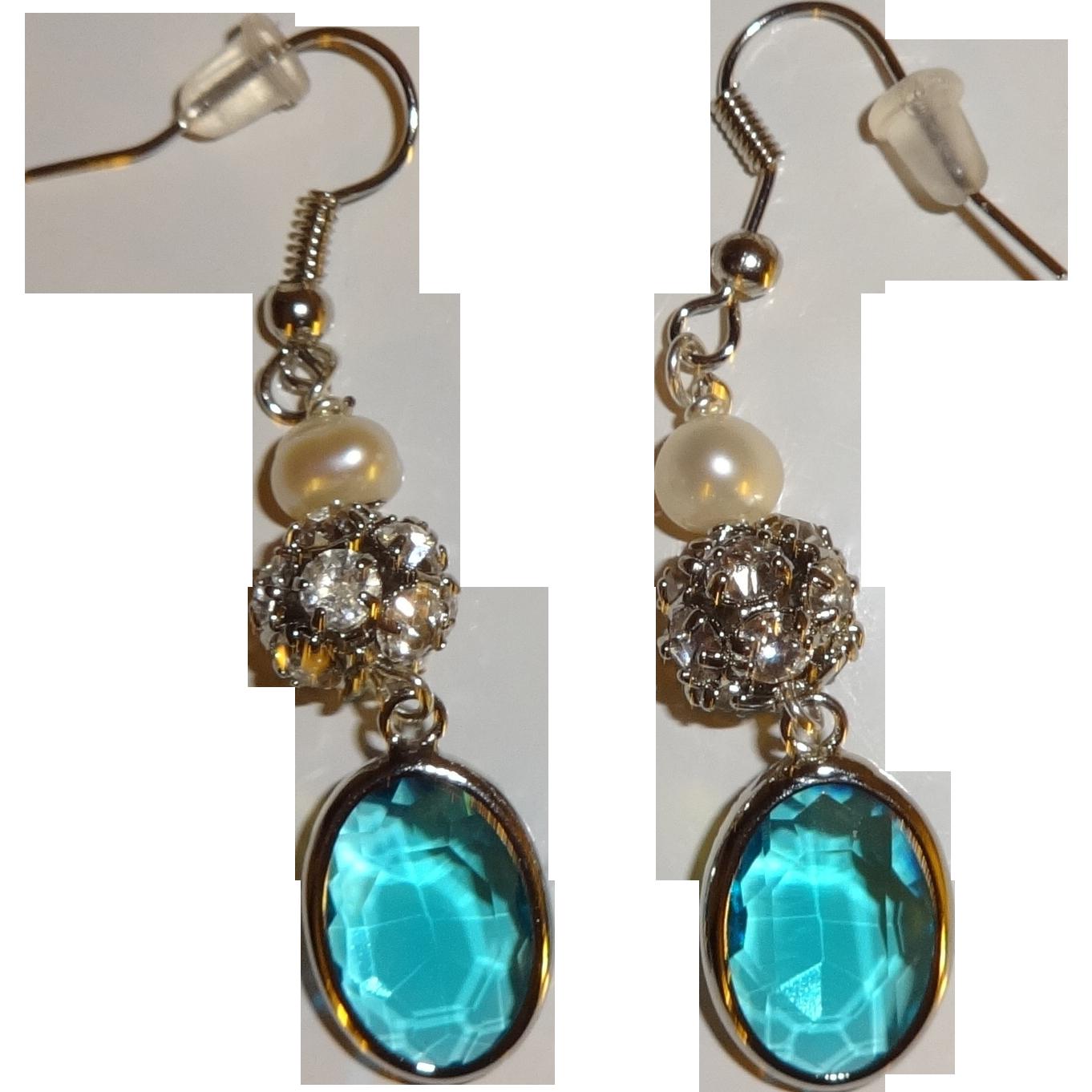 Artisan Earrings : Artisan pearl rhinestone and blue glass dangle earrings