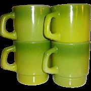 Anchor Hocking Fire King Green Stacking Mugs - Set of 4