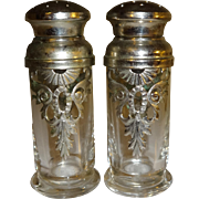 Silver Plated Glass Salt and Pepper Shakers