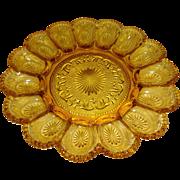 Vintage Amber Glass Hobnail Deviled Egg Plate