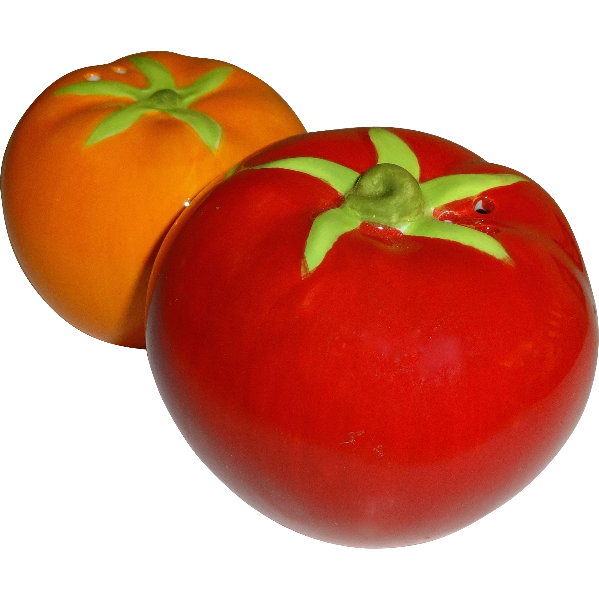 Colorful garden tomatoes salt and pepper shakers from Colorful salt and pepper shakers