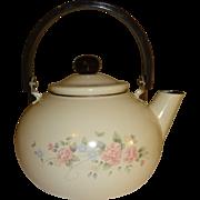 Enamelware Flowered Tea Pot with Plastic Handle