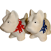 White Scotty Dogs with Bows Salt and Pepper Shakers