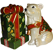 Fitz and Floyd Christmas Tidings Bear and Presents, Salt and Pepper Shakers