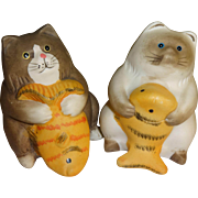 Fat Cats with Fish Salt and Pepper Shakers