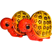 Orange & Yellow Turtles Salt and Pepper Shakers - Made in Japan