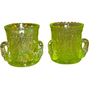 Westmoreland Yellow Green Vaseline Glass Swan Toothpick Holders Set