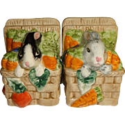 Fitz and Floyd Bunnies in Baskets with Veggies Salt and Pepper Shakers