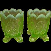 Dugan Northwood Green Vaseline Inverted Fan & Feather Toothpick Holders