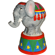 Circus Elephant on Round Decorated Base Salt and Pepper Shakers