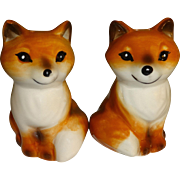 Smiling Brown Foxes Salt and Pepper Shakers