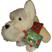 Tartan Terriers Stuffed White Dog with Plaid Removable Coat