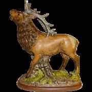 Large Brown Elk Stag Ceramic Figurine