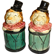 Circus Lions Inside Drums Salt and Pepper Shakers - Made in Japan