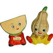 Anthropomorphic Melon & Squash Heads Salt and Pepper Shakers