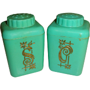 Lustro-Ware Aqua Canisters Salt and Pepper Shakers