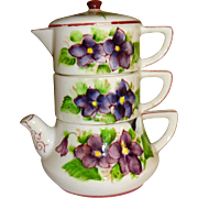Flowered Teapot Creamer with Salt and Pepper Shakers Set